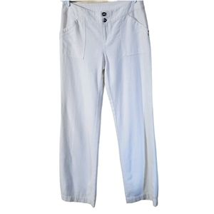 INC Wide Leg White Linen Double Button Beach Pant